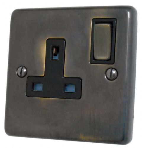 G&H CAN309 Standard Plate Polished Aged Brass 1 Gang Single 13A Switched Plug Socket